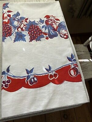 Vintage Cotton Grapes Cherries Apples Pear Fruit Red Blue White Tablecloth