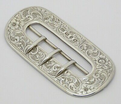Beautiful Rare Victorian Solid Silver Belt Buckle Hm 1898 Art Nouveau Great Gift