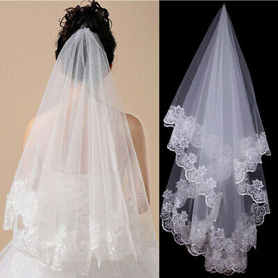 1T White Ivory 1.5M Cathedral Applique Edge Flower Lace Bridal Wedding Veil #HF0