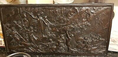REDUCED antique Hammered Repousse Copper Relief Wall Plaque Greek mythology