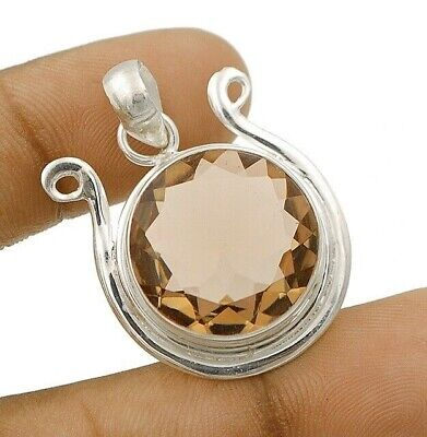22CT Natural Smoky Topaz 925 Solid Sterling Silver Pendant Jewelry EA15-7