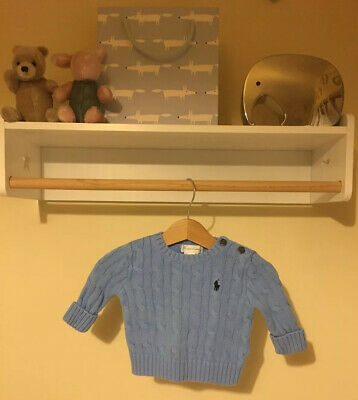 Genuine Ralph Lauren Unisex Baby Boy Girl Blue Jumper Sweater 0-3 Mth Polo Knit