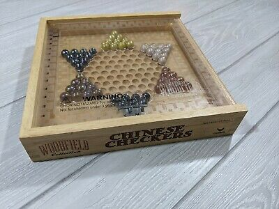 Chinese Checkers Board Game in Wooden Box & Plastic cover - Woodfield Collection