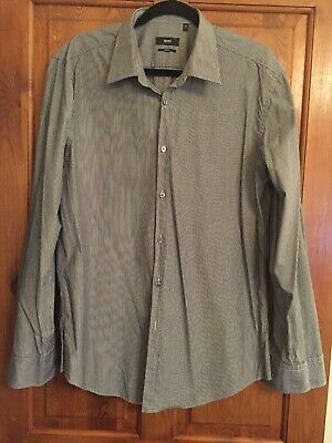 BOSS Hugo Boss slim fit grey striped collared shirt - size 44 (17 1/2)
