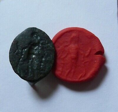 Ancient Greek bronze seal ring bezel intaglio God standing 3rd-1stc BC.