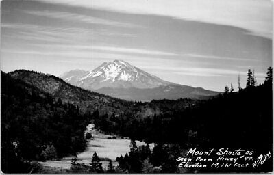 1940s Real Photo RPPC CA Postcard Mount Shasta From Highway 99 California Mt