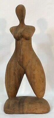 Vintage Mid Century Modern Hand Carved Wood Nude Lady Woman Figure Sculpture