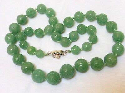 CHINESE Carved Natural JADE BEAD NECKLACE, SILVER  CLASP, 86 GRAMS