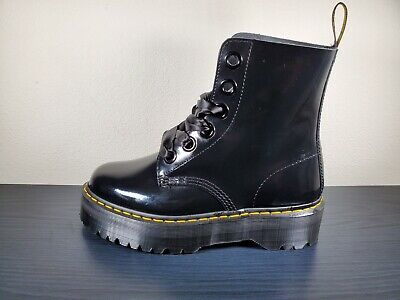 US 11 UK 9 Women's Shoes Dr. Martens MOLLY Patent Lace Up Platform Boots Black