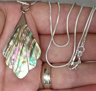 Vintage Art Deco Jewellery Ornate Abalone Shell Leaf Sterling Silver Necklace