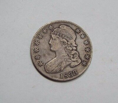 1833 Capped Bust/Lettered Edge Half Dollar FINE Silver 50c