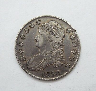 BARGAIN 1830 Capped Bust Lettered Edge Half $ EXTRA FINE Silver 50-Cents