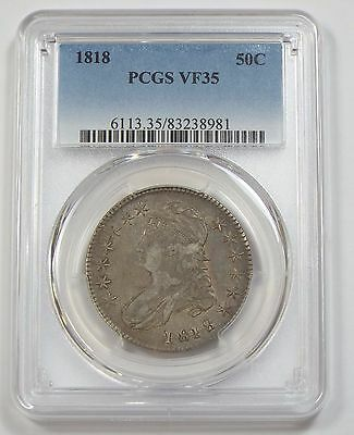 1818 Capped Bust/Lettered Edge Half Dollar PCGS VF 35 Silver 50c