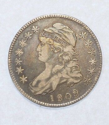 1809 Capped Bust/Lettered Edge Silver Half Dollar VERY FINE Condition