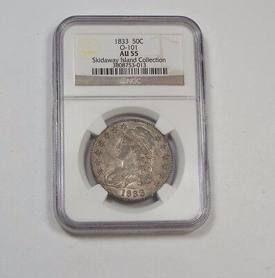 1833 Capped Bust/Lettered Edge Silver 50c NGC AU 55 Skidaway Is.Collection O-101