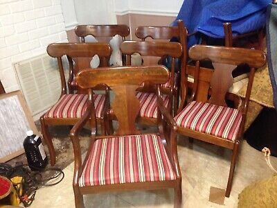 Very Very Nice Set 6 Unique Furniture Makers Solid Cherry 🍒 Dining Chairs
