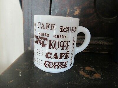 vintage milk glass Coffee mug Coffee in different languages