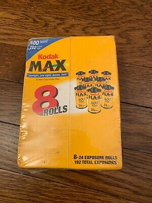 8 ROLLS 24 EXP. 192 TOTAL Kodak Max 400 Speed Color Film 35mm Expired 12/05 NEW