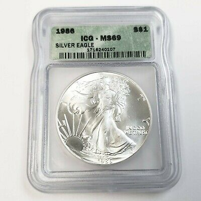 1986 US American Silver Eagle $1 One Dollar ICG MS69 Graded Bullion Coin JP0107