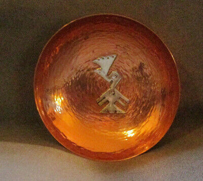 Copper Dish Sterling Accents Signed Vichy