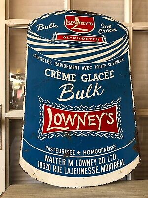 1965 Lowney's Strawberry Ice Cream Sign, Montreal, French