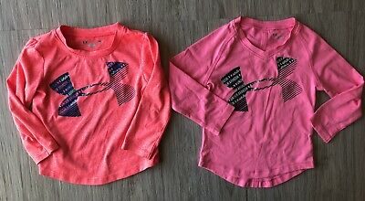 Under Armour Toddler Girls Lot of 2 Shirts Size 2T 24 Months Pink Long Sleeve