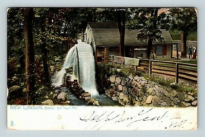 New London CT, Old Town Mill, Connecticut, Vintage Postcard V9