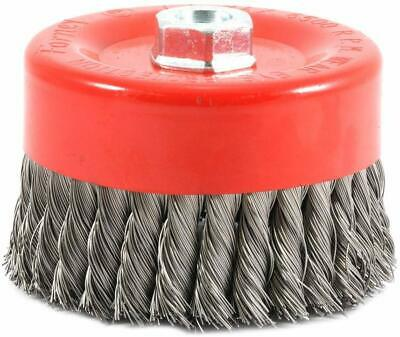 Forney 72756 Wire Cup Brush, Knotted with 5/8-Inch-11 Threaded Arbor, 6-Inch-...