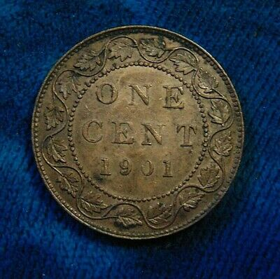 1901 CANADA LARGE CENT one 1 penny copper coin Queen Victoria