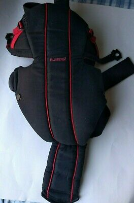 BABY BJORN INFANT FRONT CARRIER MODEL 0260 BLACK and red with two strap sets