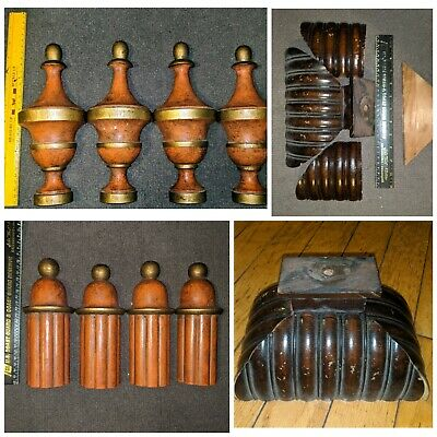 3 Sets Of Beautiful Antique Architectural & Wall Clock Salvage Finials And Parts