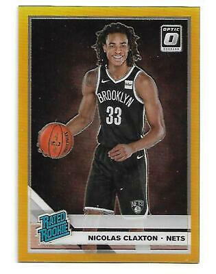 2019 Optic Nic Nicolas Claxton SP Gold Prizm Holo Refractor RC Card 2/10