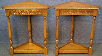 Pair Of Jaycee Carved Light Oak Small 2 Tier Corner Occasional Tables