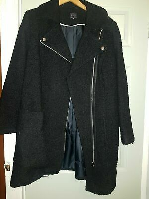 Ladies Marks And Spencer's Black Thick Coat 16