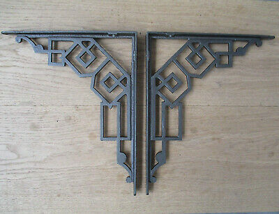 IRONMONRY WORLD Pair of Antique Art Deco CAST Iron Shelf Brackets Shelving.