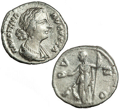 Silver denarius of the younger Faustina.  Juno reverse.