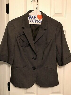 womens Black THE LIMITED collection blazer jacket short sleeve modern L