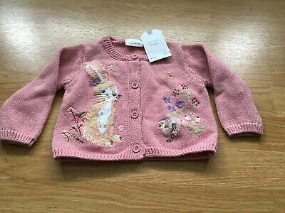 Next Baby Girl Rabit Knitted Pink Cardigan 3-6 Months BNWT