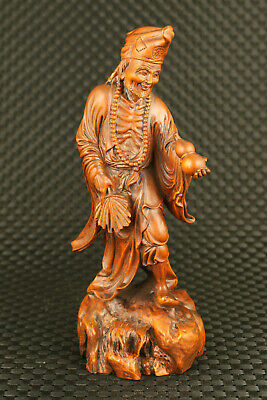 old Chinese boxwood hand carved big Buddha Jih statue decorate collectable gift