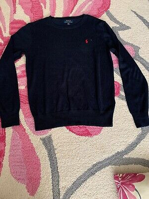 Polo Ralph Lauren Childrens Boys Navy Blue Round Neck Jumper Sweater Size XL