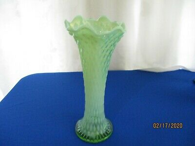 """Northwood Diamond Point Green Opalescent Glass 10 1/2"""" Swung Vase"""