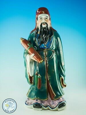 "Chinese Immortal Fu Porcelain Figurine Taoism Large Approx 14"" Tall"