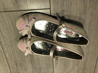 Girls Sparkle Club Glitter Shoes Pink/Silver And White UK 1. Never Worn.