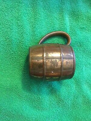 "Vintage West Bend WB Solid Copper Barrel 3"" Mug Cup W/ Handle 3 5/8"" Tall Rare"