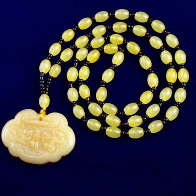 """1 Strand Carved Yellow Jade Safety Lock Drum Pendant Necklace 17.5"""" S34650"""