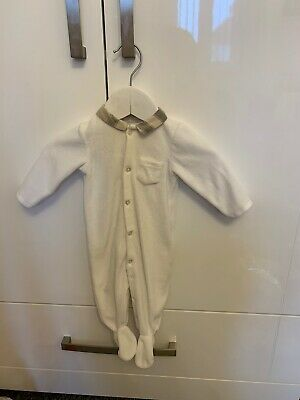 Burberry Unisex White Velour Baby Grow 3 Months