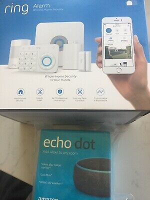 Ring Alarm Home Security System 5 Piece Starter Kit Brand New & Echo Dot Alexa