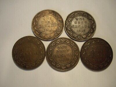 B Canada George V 1916 - 1920 Large Cents - Lot of 5 Coins