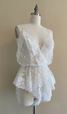 VTG 80s/90s Fredricks Of Hollywood Sexy White Lacy Teddy Romper Lingerie M/L
