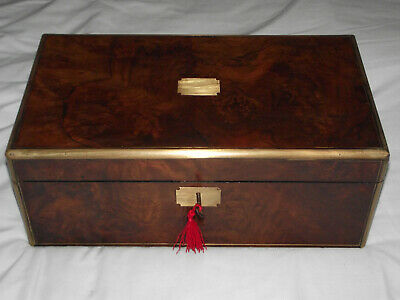 Large brass edged burr walnut writing slope